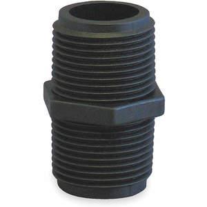 BANJO NIP300-SH Nipple 3 x Short Inch Mnpt Polypropylene Black | AC8TVQ 3DTL2