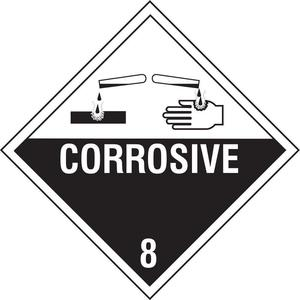STRANCO INC DOTP-0053-PS Vehicle Placard Corrosive With Picto   AF4JYB 8YGX4