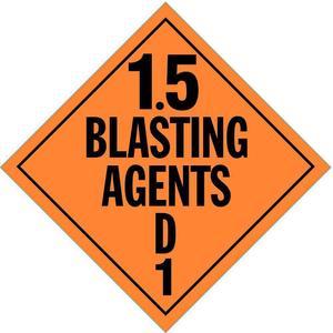 STRANCO INC DOTP-0101-PS Vehicle Placard 1.5 Blasting Agent   AF6CVC 9WXG4