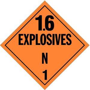 STRANCO INC DOTP-0103-V10 Vehicle Placard 1.6 Explosive - Pack Of 10   AF3YRT 8FNM6