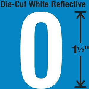 STRANCO INC DWR-1.5-0-5 Die-Cut Reflective Number Label 0 PK5 | AH3AAZ 30WY43