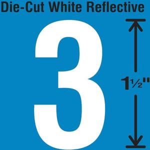 STRANCO INC DWR-1.5-3-5 Die-Cut Reflective Number Label 3 PK5   AH3ABC 30WY46