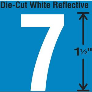 STRANCO INC DWR-1.5-7-5 Die-Cut Reflective Number Label 7 PK5 | AH3ABG 30WY50