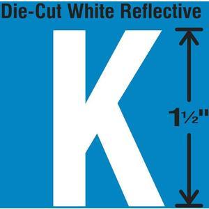 STRANCO INC DWR-1.5-K-5 Die-Cut Reflective Letter Label K PK5   AH3ABW 30WY63