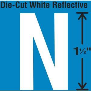 STRANCO INC DWR-1.5-N-5 Die-Cut Reflective Letter Label N PK5   AH3ABZ 30WY66