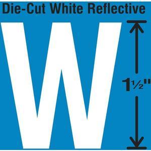 STRANCO INC DWR-1.5-W-5 Die-Cut Reflective Letter Label W PK5 | AH3ACJ 30WY75