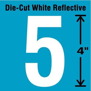 STRANCO INC DWR-4-5-5 Number Label 5 White - Pack Of 5   AD4JFR 41R046