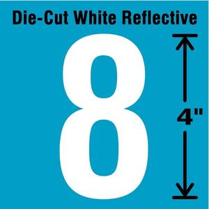 STRANCO INC DWR-4-8-5 Number Label 8 White - Pack Of 5   AD4JFV 41R049
