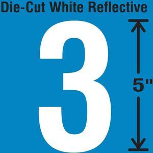 STRANCO INC DWR-5-3-5 Die-Cut Reflective Number Label 3 PK5   AH3ACR 30WY82