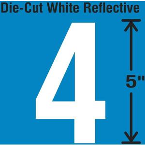 STRANCO INC DWR-5-4-5 Die-Cut Reflective Number Label 4 PK5 | AH3ACT 30WY83
