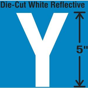 STRANCO INC DWR-5-Y-5 Die-Cut Reflective Letter Label Y PK5   AH3AEA 30WZ14