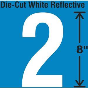 STRANCO INC DWR-SINGLE-8-2 Die-Cut Reflective Number Label 2   AH3AEE 30WZ18