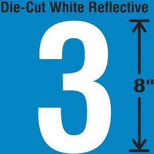 STRANCO INC DWR-SINGLE-8-3 Die-Cut Reflective Number Label 3   AH3AEF 30WZ19
