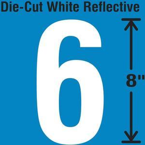 STRANCO INC DWR-SINGLE-8-6 Die-Cut Reflective Number Label 6   AH3AEJ 30WZ22