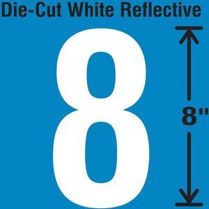 STRANCO INC DWR-SINGLE-8-8 Die-Cut Reflective Number Label 8 | AH3AEL 30WZ24