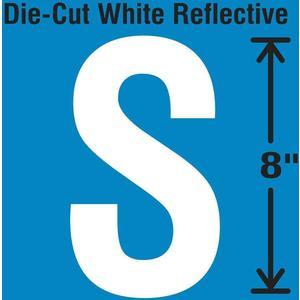 STRANCO INC DWR-SINGLE-8-S Die-Cut Reflective Letter Label S   AH3AFH 30WZ44