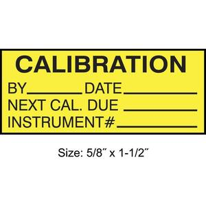 STRANCO INC TCF-22135 Calibration Label ENG Black/Yellow PK350   AH3AWE 30XD66