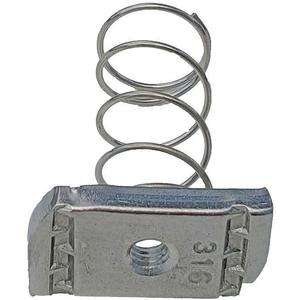 SUPER-STRUT A100 1/4SS Channel Spring Nut 1/4 Inch Stainless Steel - Pack Of 25   AB9ZXC 2HAL7