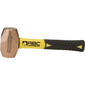 ABC HAMMERS ABC3BZFS Drilling Hammer, Bronze/Copper, 3 lbs, 8 Fiberglass Handle   AJ8CBA