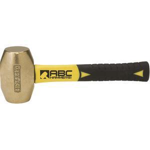 ABC HAMMERS ABC4BFS Drilling Hammer, Brass, 4 lbs, 8 Fiberglass Handle | AJ8BZE