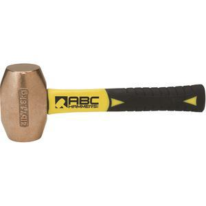 ABC HAMMERS ABC4BZFS Drilling Hammer, Bronze/Copper, 4 lbs, 8 Fiberglass Handle | AJ8CBB